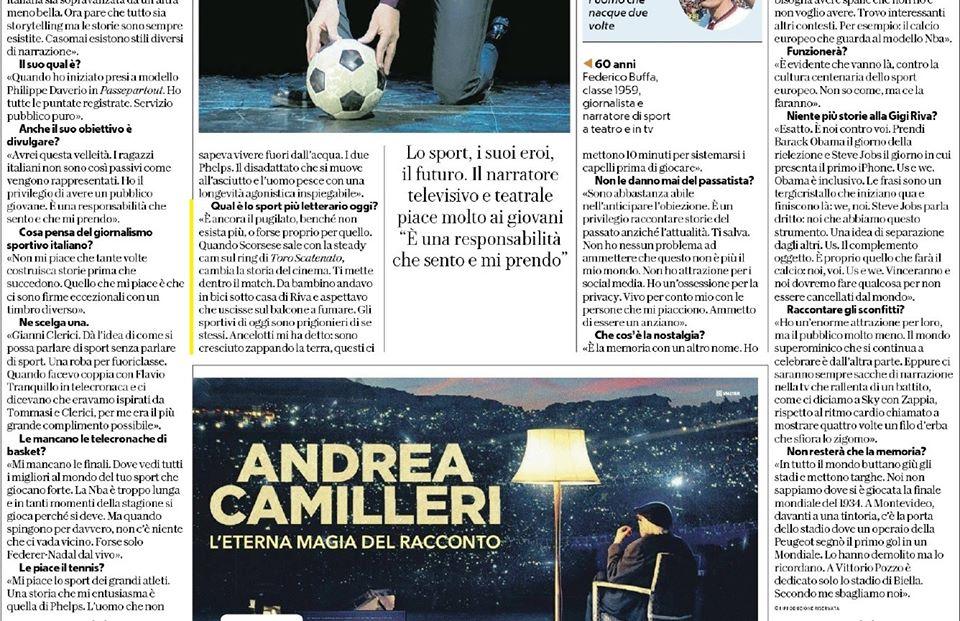 """Intervista a Federico Buffa de """"La Repubblica"""" 2."""