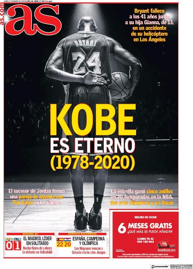 AS - Prima pagina morte Kobe Bryant