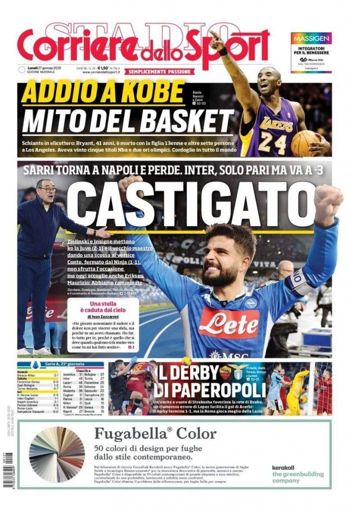 Corriere dello Sport - Prima pagina morte Kobe Bryant