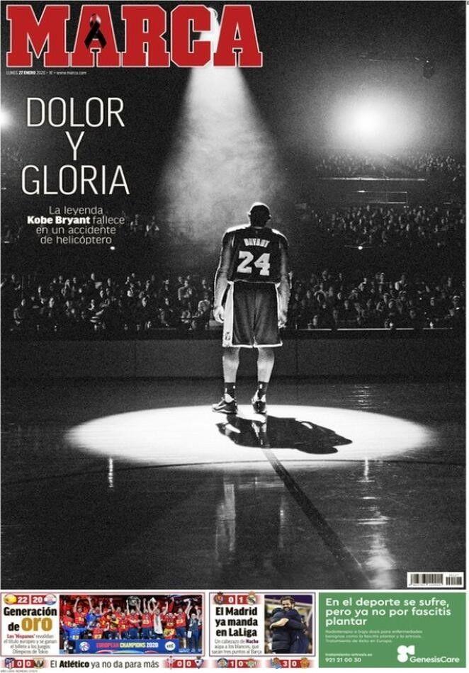 Marca- Prima pagina morte Kobe Bryant
