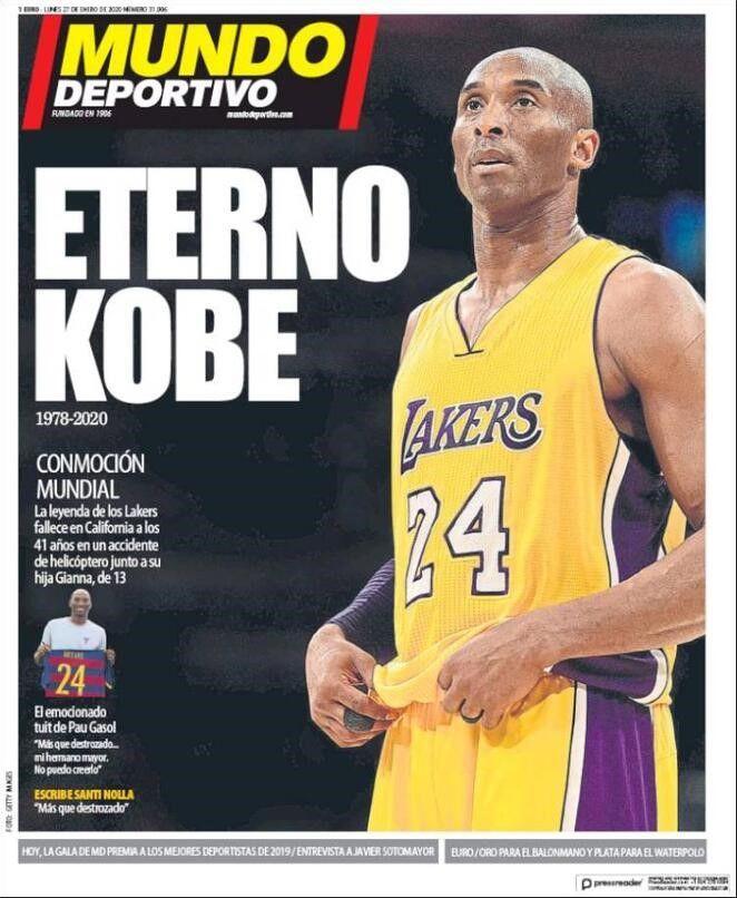 Mundo Deportivo - Prima pagina morte Kobe Bryant