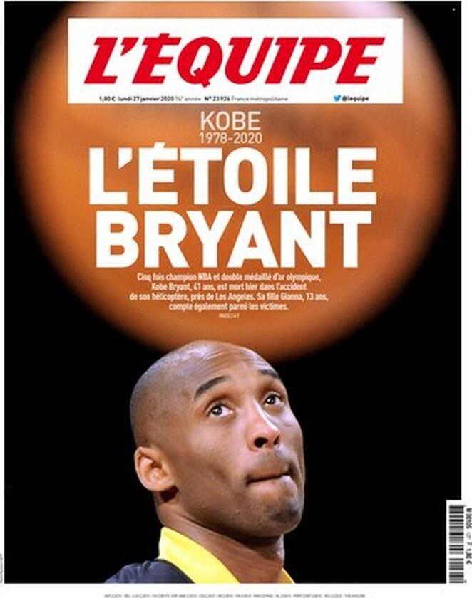 L'Equipe - Prima pagina morte Kobe Bryant