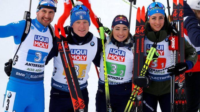 argento Italia mondiali biathlon anterselva staffetta mista