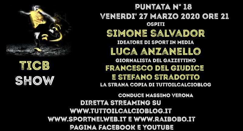 Simone Salvador - Sportinmedia ospite di Tutto il Calcio Minuto per Minuto Blog 27 marzo 2020