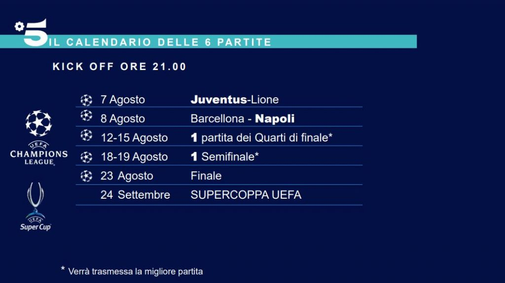 Calendario Uefa Champions League 2021 Mediaset Final 8 Champions League 2020   Le partite in chiaro trasmesse da